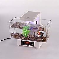 Mini Tanque de Peces Carga por USB, Luz LED Sonido Reciclado de Agua, Acuario Ecológico Fishbowl con Calendario