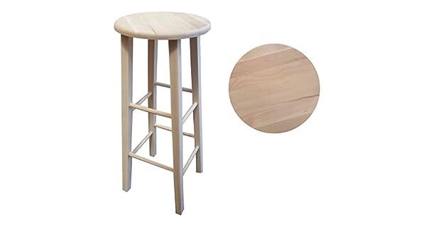 Sgabello legno tondo massello grezzo h.80: amazon.it: casa e cucina
