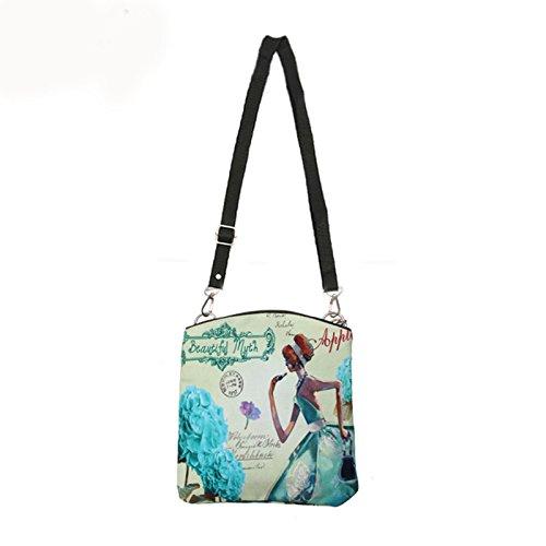 24 borsa di tela - SODIAL(R)Donne Messenger Borse Vintage Canvas Stampa Piccolo Satchel spalla di stile europeo ragazze della borsa della signora di Crossbody Viola 24 Blu