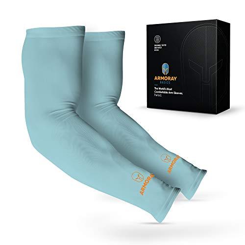 2018 UV Premium Schutz Kühlung Sport Arm Sleeves Unisex Sun Block UV Skin Protection Cooler Perfekt für Golf Radfahren Angeln Autofahren Laufen Basketball Fußball, aqua blue, 2 Pair -