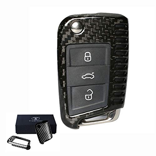 FancyAuto Clé De Couverture De Voiture Porte-clés en Fiber De Carbone Porte-clés pour Volkswagen 16 17 VW Golf 7 Lamando Skoda Octavia(Noir)