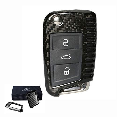 Kwak\'s Autoschlüssel Keyless Schlüssel Kohlefaser Schutzhülle Auto Schlüsselhülle Cover Kompatibel für Volkswagen VW Golf 7 Lamando Skoda Octavia(schwarz)