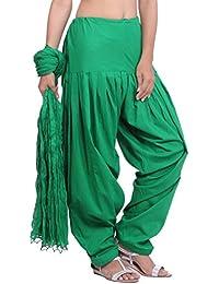 Jaipur Kurti Pure Cotton Patiala Salwar And Dupatta Set (Flag Green)