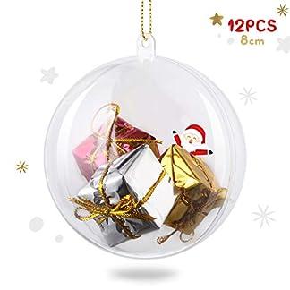 amzdeal Bolas de Navidad – 12 Piezas Bolas de Plástico Transparentes, Rellenable y Divisible, Esferas Acrílicas para Decoración Navideña, DIY Adornos para Boda Fiesta Cumpleaños Halloween