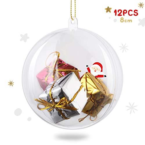 Amzdeal Bolas de Navidad de 8cm - 12 Piezas Bolas de Plástico Transparentes, Rellenable y Divisible, Esferas Acrílicas para Decoración Navideña, DIY Adornos para Boda Fiesta Cumpleaños Halloween