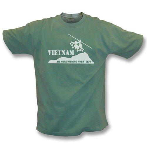 TshirtGrill Vietnam - wir gewannen, als ich Weinlese-Wäschet-shirt ließ - Mädchen Slimfit groß, Farbe- Grün