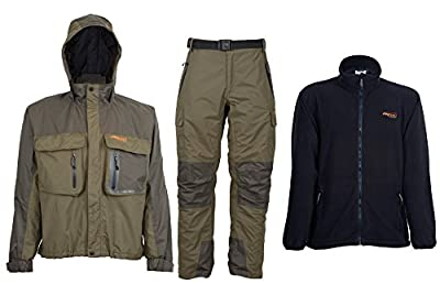Airflo Defender Fly Fishing Waterproof Wading Jacket & Trouser with Free Fleece Jacket by Airflo