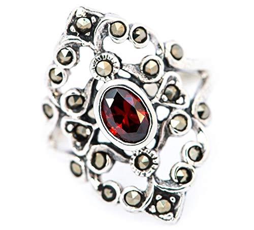 WINDALF Mittelalter Ring AZUARÎ h: 2.1 cm Roter Kristall Hochwertiges Silber (Silber, 58 (18.5))