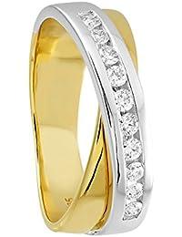 Diamond Line Damen - Ring 585er Gold 10 Diamanten ca. 0,25 ct., gelbgold