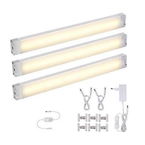 3er Pack LED Unterbauleuchte Warmweiß 12W LED Schrankbeleuchtung Schrankleuchte Dimmbare, 1005 LM Schranklampe Lichtleiste Unterbauleuchte, 72 LEDs, 3000K, inkl. Adapter und Montage-Zubehör