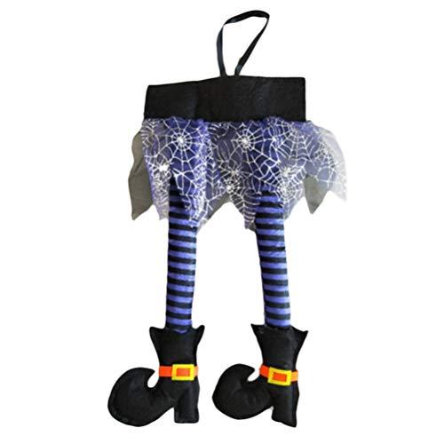 Oz Der Von Paar Zauberer Kostüm - Bogeger Hexenbeine, Wicked Novelty Hexenbeine Stoffhexenbeine Mit Schuhen Fantastische Halloween-Dekoration, Lila, 46 * 22 cm