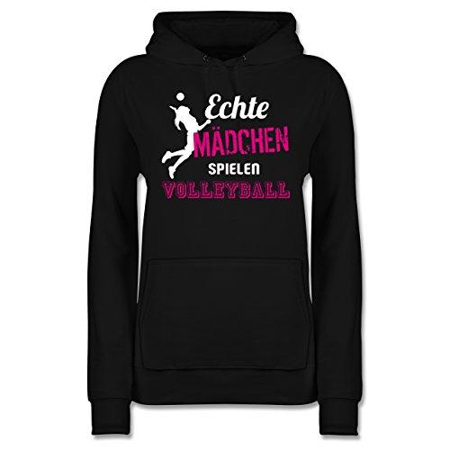 Shirtracer Volleyball - Echte Mädchen Spielen Volleyball - XS - Schwarz - JH001F - Damen Hoodie