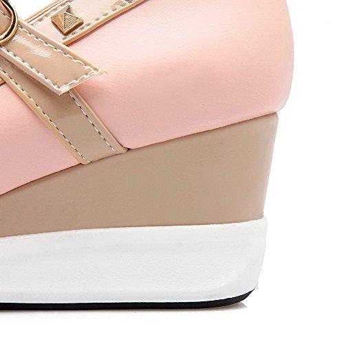Sapatos Meados Dedo Cor Bombas Senhoras Fivela Apontado Rosa Calcanhar Misturada Allhqfashion qH7nwp6O