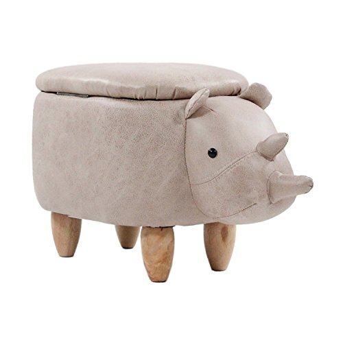 hjh OFFICE 444610 Kinderhocker AVII Stoff Grau Hocker Tier Nashorn mit Aufbewahrung
