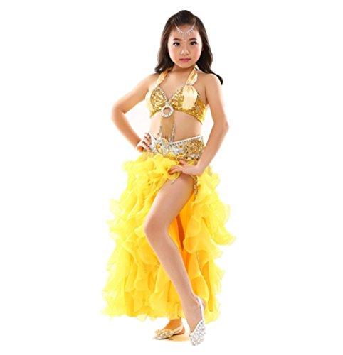 (HUOFEINIAO Kinder Bauchtanz Kostüm Bauchtanz Kostüm Mädchen Indien Tanz Rock Set Rot/Blau/Lila/Grün/Pink/Gelb,Yellow,S)
