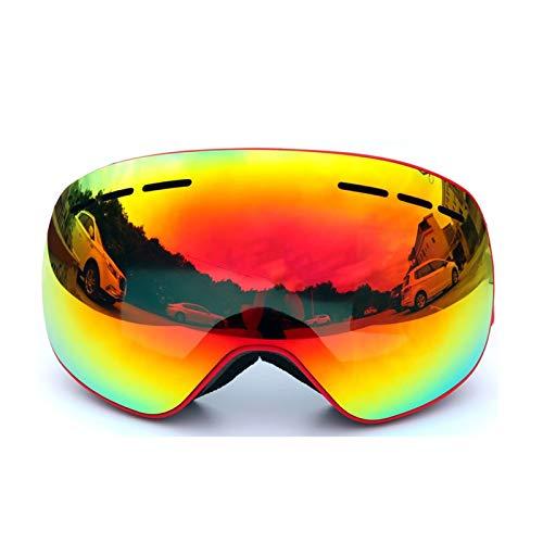 Gnzoe TPU+PC Snowboardbrille Skibrille Zweilagige Anti-Fog PC Objektiv Snowboard Brille (Cocker Myopie Brille) für Skifahren Schneemobil Skaten/Rot