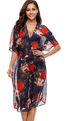 Attraco Damen Sommer Floral Printe Strandponcho Pompon Bikini Cover Ups Knielang Strandkleid Sommerkleider Navy (Sommerkleid Cover)