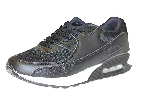 Sportive Chaussures Femme Low Baskets Chaussures Lacets Chaussures de Sport de loisirs chaussures chaussures de course Runners Fitness chaussures de sport Noir - Noir