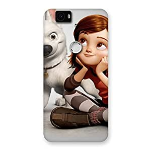 Cute Girl and Dog Back Case Cover for Google Nexus-6P