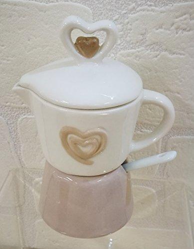 Zuccheriera a forma di caffettiera con cuore in porcellana