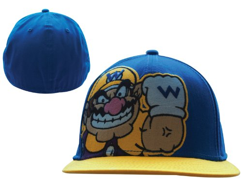 Kopfbedeckung Base Kostüm - Super Mario Bros. Wide Bill Schirmmütze / Base Cap / Basecap: Wario (Blau)