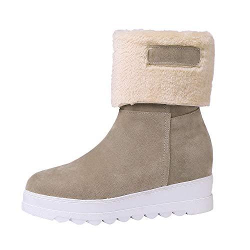 tiefeletten Frauen Wildleder Runde Zehe Wedges Schuhe halten warme Slip-On Plüsch Schnee Stiefel Warme Plüsch Gefüttert Kurzschaft Wildleder Stiefel mit Blockabsatz ()
