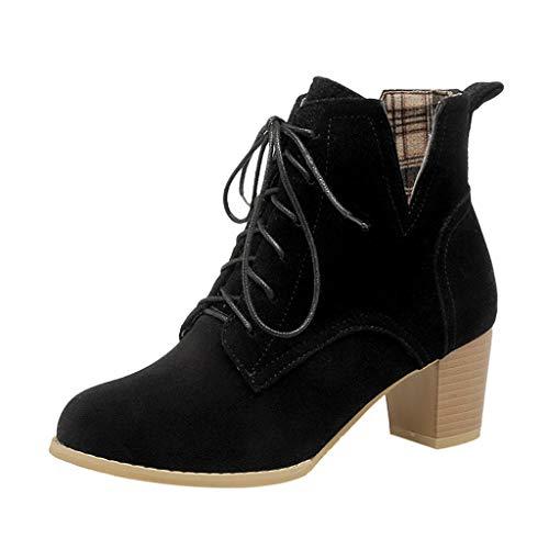 Damen Plateau Pumps Stiefeletten Ankle Boots Blockabsatz Klassik Frauen Casual Absatz Knöchel Arbeit Schnalle funktionaler Schuhe Halbstiefel Stiefelette Bootie Schlupfstiefel(Schwarz/Black,41)
