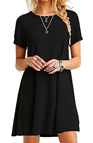 ZIOOER Damen Kleider Casual MiniKleid Langes Shirt Lose Tunika Kurzarm T-Shirt Kleid Schwarz 2XL (T-shirt Frauen Lange)
