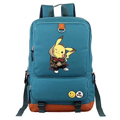 HAIYANG Anime Pokemon Go Spiel Rucksack Leinwand Pikachu Jungen Mädchen Jugendliche Schultasche Rucksack Männer Frauen Schulter Reisetasche (Mädchen Oder Pikachu Ist Ein Junge Ein)