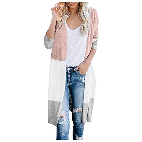 Smonke Damen Mode Mantel Mehrfarbig gestreifte Patchworkjacke Langarmshirts Freizeitkleidung Lange Frauen Bluse Warme Oberbekleidung Strickjacke -