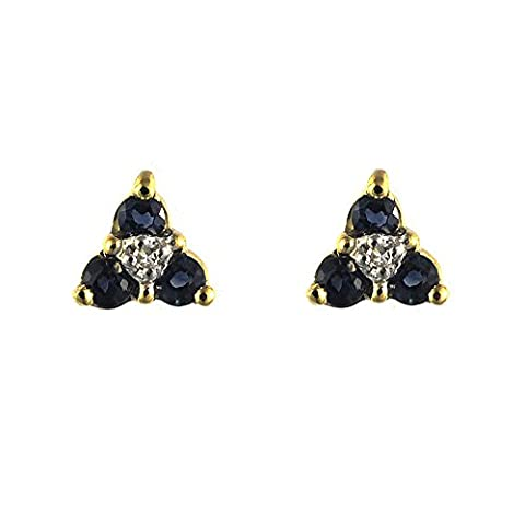 Ivy Gems 9ct Yellow Gold Sapphire and Diamond Flower Stud Earrings