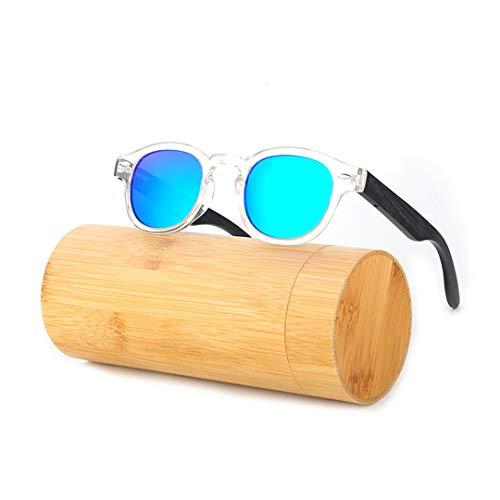 DAIYSNAFDN Holz Sonnenbrille Frauen Runde Bambus Sonnenbrille Für Männer Polarisierte Spiegel Beschichtung Linsen Eyewear C201