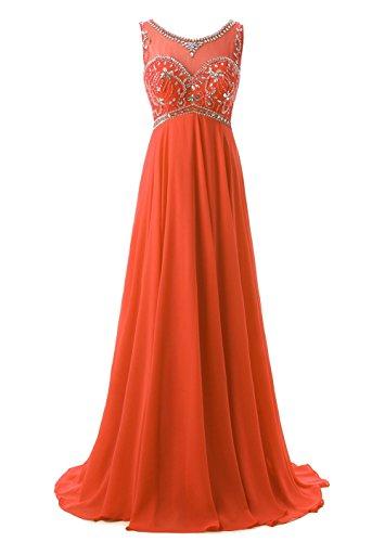 Callmelady Col Haut Perlage Mousseline de Soie Robe de Soirée Longue 2017 Robe de Cocktail Orange Rouge