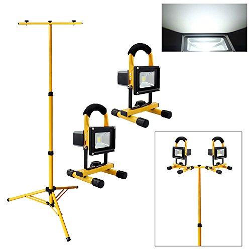 VINGO® 2x 10W LED Kaltweiß 2200mA Akku Strahler Flutlicht 900LM Ultra Helle Scheinwerfer handlampe Tragbare Beleuchtung mit Dopel Stativ
