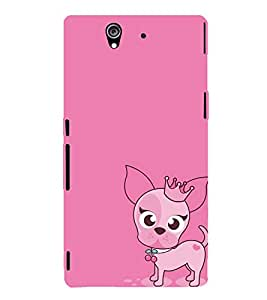 ANIMATED DOG IMAGE WITH A PINK BACKGROUND 3D Hard Polycarbonate Designer Back Case Cover for Sony Xperia Z :: Sony Xperia Z L36h