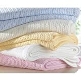 100% Cotton Cellular Baby Blanket in Cream