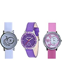 SPINOZA Glory White Peacock And Purple Lrather Belt Super Watch With Pin Crystals Studded Heart On Glass Combo...