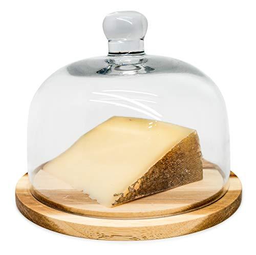 NERTHUS FIH 548 Quesera con Tapa De Cristal Y Base De Madera, Vidrio, Transparente