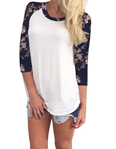 Minetom Donna Casuale Stampa Girocollo T-Shirt Top Obertail OL Bluse e Camicie Bianco IT 46