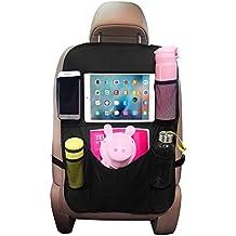 Organizadores para Asientos de Coches de OMORC, Organizador Kick Mats de coches Funda para iPad soporte para pantalla táctil del Tablet iPad, Bolsillo múltiple para botellas, cajas del tejido, negro