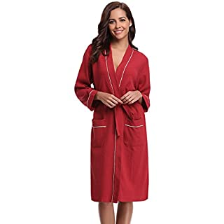 Aibrou Womens Girls Waffle Dressing Gown Cotton Red Bath Robe for Spa Hotel Sleep Night Wear