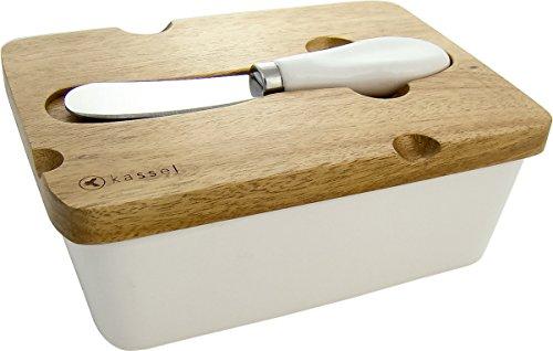 Homestyles Holz Top (Top Qualität, elegant Butterdose mit Buttermesser aus Porzellan und Holz Made Deckel)