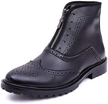 Botines De Cuero Tobillo De Cuero Real Para Hombre Con Cremallera Formal Zapatos Casuales En Negro Marrón Size