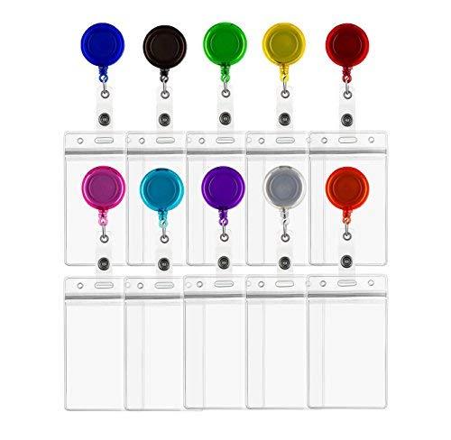 ljdeals Retractable Badge Holder Reel ID Kartenhalter mit Vertikale, Vinyl Ausweishalter, verschiedene Farben, 10Stück -
