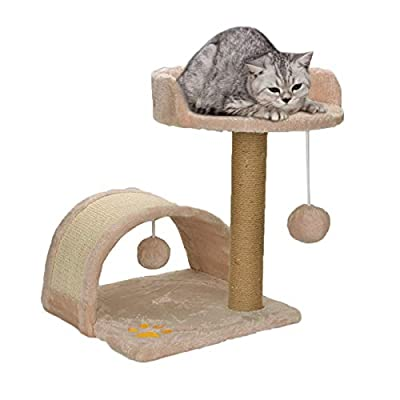 Quieting Cat Tree Scratch Post Kitten Play Towers Activity Centre With Toys And Bed from QD