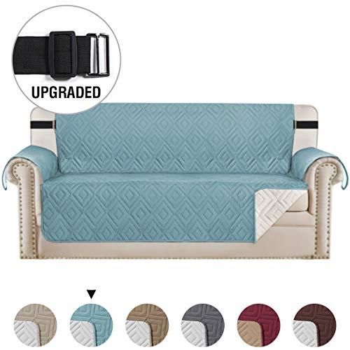 Copridivano reversibile, copridivano impermeabile per sedia, con cinghie elastiche da 5,1 cm, copridivano per soggiorno, copridivano per cani (1 posto, bordeaux/marrone chiaro), smoke blue, 3 posti
