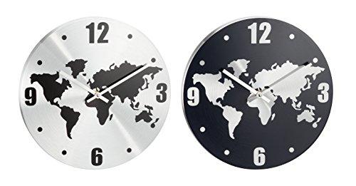 "hochwertige Wanduhr \""Erde\"", Durchmesser ca. 30 cm Aluminium, dunkelgrau/silber oder silber/schwarz"