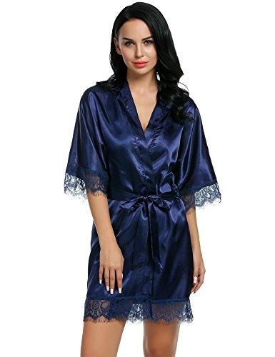 CRAVOG Femme Sexy Robe de Chambre Kimono Dentelle Chemise de Nuit Peignoir Satin Col V Lingerie avec Ceinture Bleu Marine