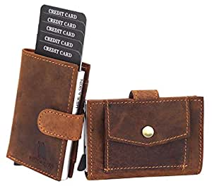 HIDE & SKIN MUD LEATHER RFID BLOCKING MEN'S AND WOMEN'S CARD HOLDER CUM MINIMALISTIC WALLET WITH 1 RFID BLOCKING METAL CARD HOLDER +2 CARD SLOTS + 1 ID card SLOT + 1 CURRENCY SLOT + 1 COIN COMPARTMENT
