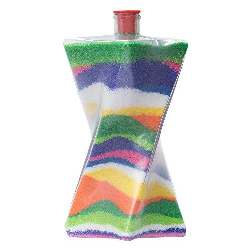Sandkunstbastelflaschen mit roten Plastikstöpseln, einzigartige verdrehte Form, ideal für Sandkunstaktivitäten in Schulen oder auf Gemeindeveranstaltungen, Kinderfeiern drinnen oder im Freien. Leere Sandflaschen, die mit farbigem Sand aufgefüllt werden können (5er - Sand-souvenir-flasche